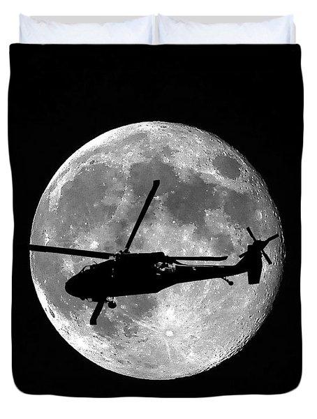 Black Hawk Moon Duvet Cover