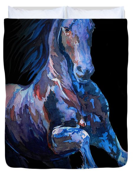 Black Horse In Black Duvet Cover