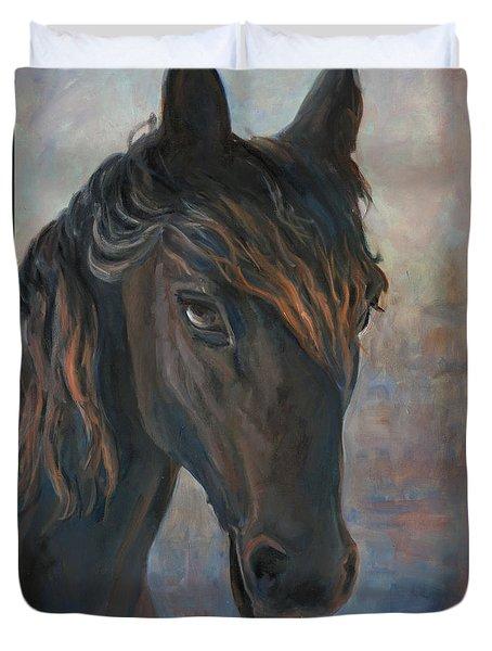 Black Horse Duvet Cover by Marco Busoni