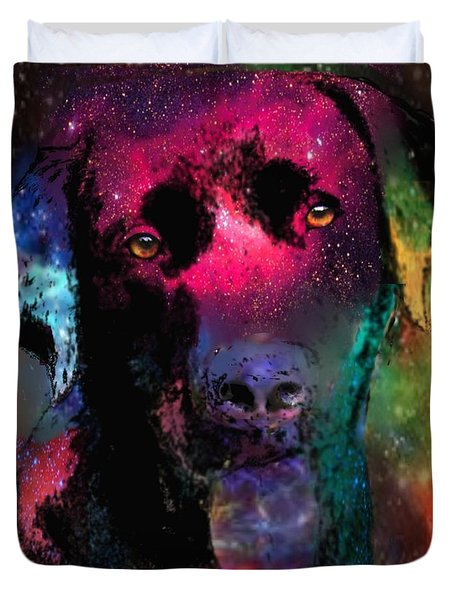 Black Labrador Dog Duvet Cover by Marlene Watson