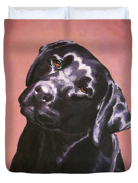 Black Labrador Portrait Painting Duvet Cover