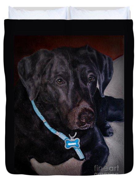 Black Labrador Retriever Drawing Duvet Cover