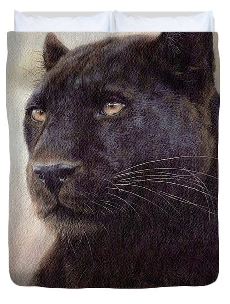 Black Leopard Painting Duvet Cover by Rachel Stribbling