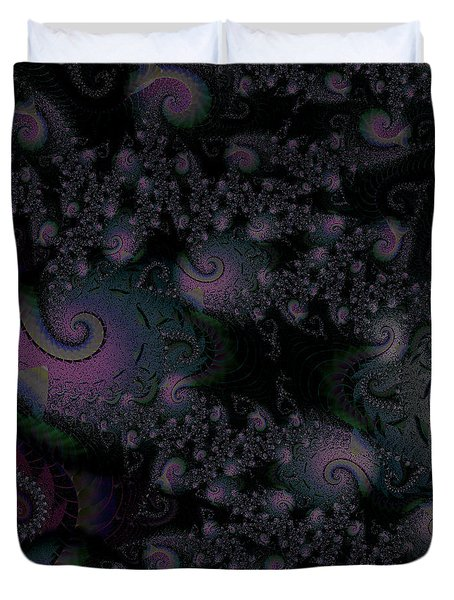 Duvet Cover featuring the digital art Black Light Reveal by Elizabeth McTaggart