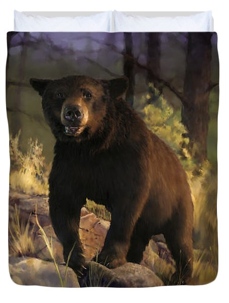 Duvet Cover featuring the painting Black Max by Rob Corsetti