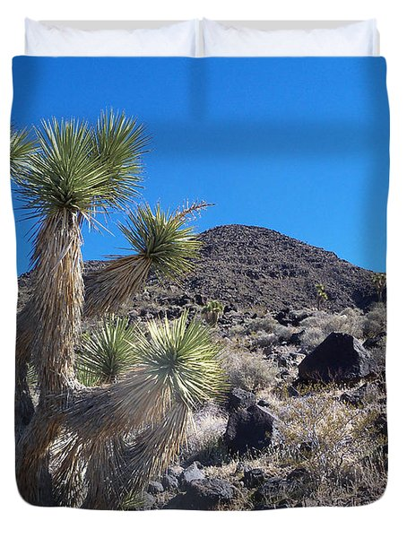 Duvet Cover featuring the photograph Black Mountain Yucca by Alan Socolik