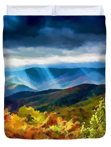 Black Mountains Overlook On The Blue Ridge Parkway Duvet Cover by John Haldane