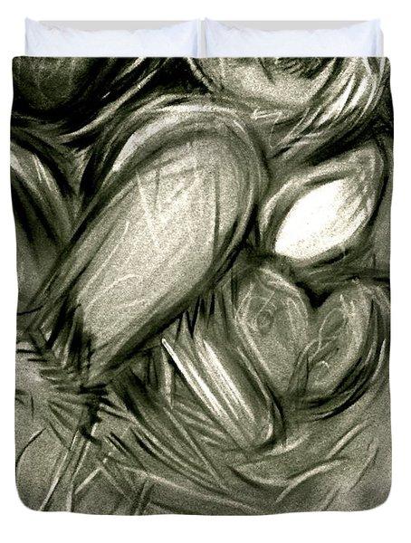 Black N' White-hearts Soar-thinking Of You Duvet Cover by Juliann Sweet