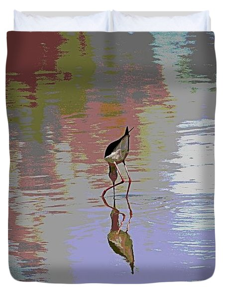 Duvet Cover featuring the photograph Black Neck Stilt Out In The Pond by Tom Janca