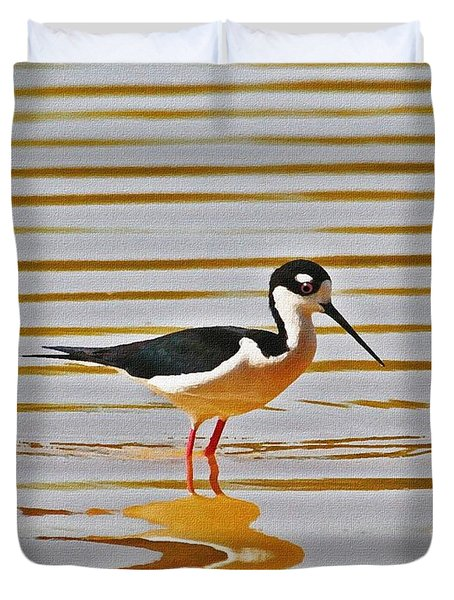 Duvet Cover featuring the photograph Black Neck Stilt Standing by Tom Janca
