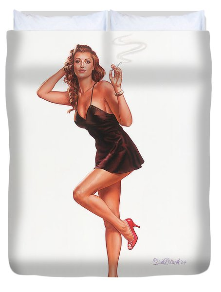 Black Negligee Girl Duvet Cover by Dick Bobnick
