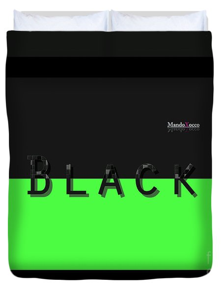 Black Neongreen Art Duvet Cover