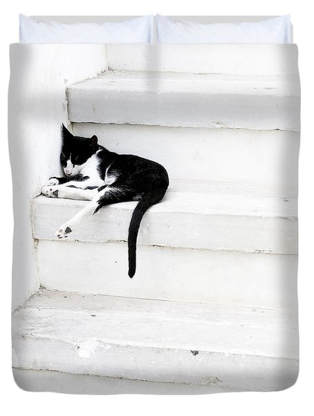 Duvet Cover featuring the photograph Black On White 2 by Lisa Parrish