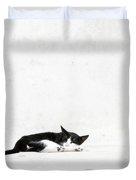 Duvet Cover featuring the photograph Black On White by Lisa Parrish