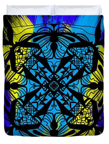 Black Ornament Duvet Cover