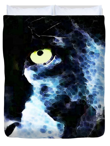 Black Panther Art - After Midnight Duvet Cover by Sharon Cummings