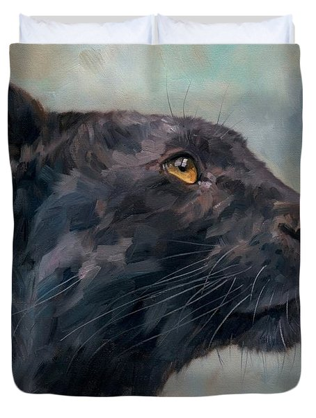 Black Panther Duvet Cover by David Stribbling