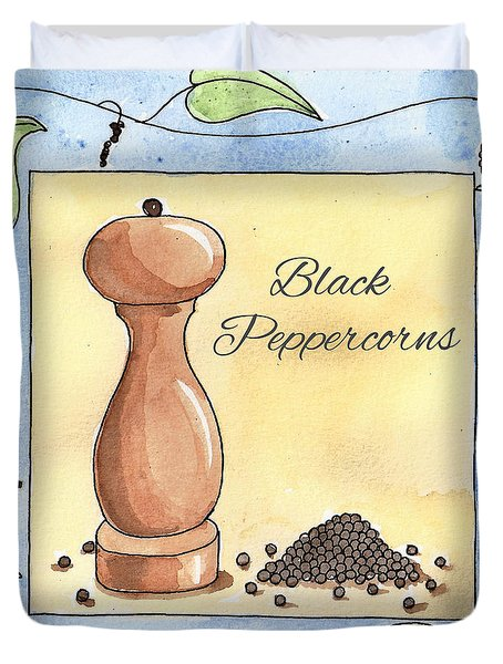 Black Peppercorns Kitchen Art Duvet Cover by Christy Beckwith