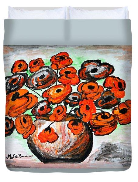 Black Poppies Duvet Cover by Ramona Matei