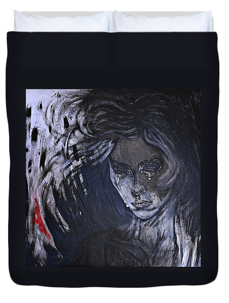 black portrait 16 Juliette Duvet Cover