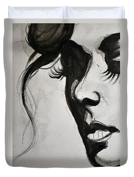 Black Portrait 16 Duvet Cover