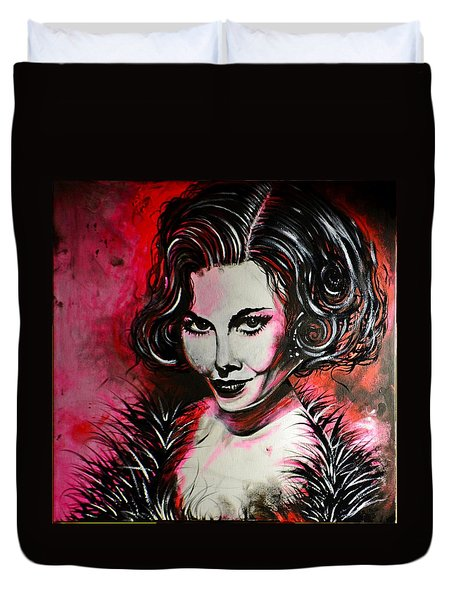 Duvet Cover featuring the painting Black Portrait #21 by Sandro Ramani