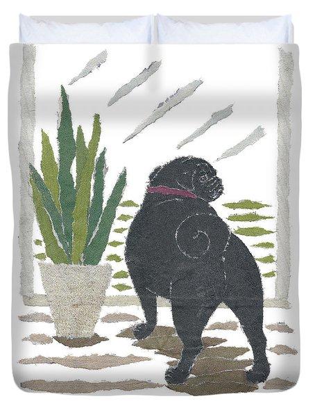 Black Pug Art Hand-torn Newspaper Collage Art Duvet Cover by Keiko Suzuki Bless Hue