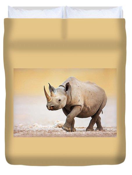 Black Rhinoceros Duvet Cover