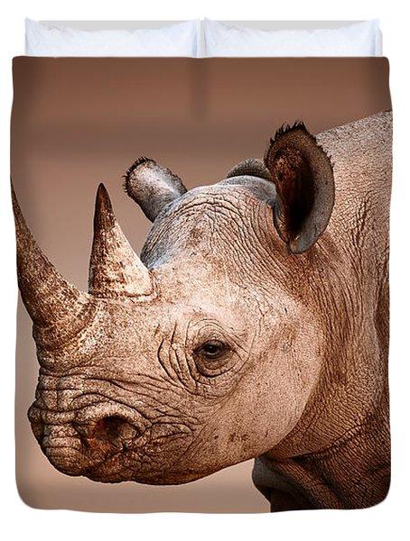 Black Rhinoceros Portrait Duvet Cover