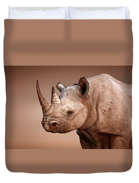 Black Rhinoceros Portrait Duvet Cover