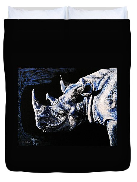 Duvet Cover featuring the painting Black Rino by Viktor Lazarev