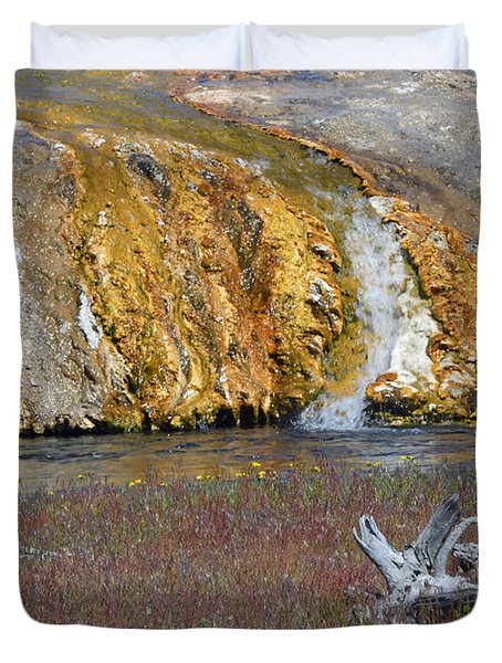 Black Sand Basin Runoff Yellowstone Duvet Cover by Bruce Gourley