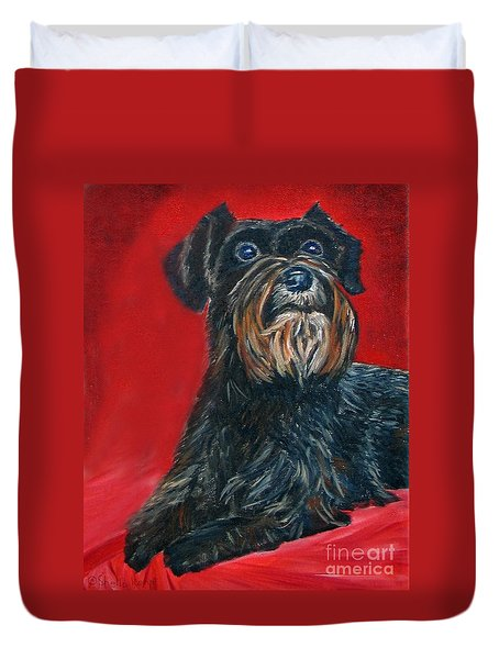 Duvet Cover featuring the painting Black Schnauzer Pet Portrait Prints by Shelia Kempf