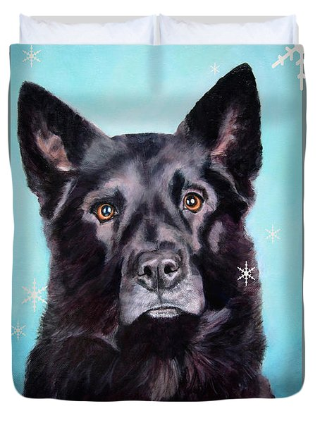 Black Shepard Mix Portrait Holiday Duvet Cover