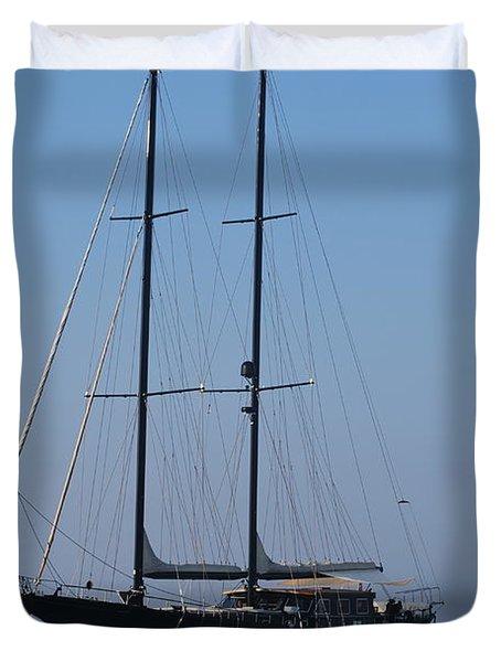 Black Ship Duvet Cover