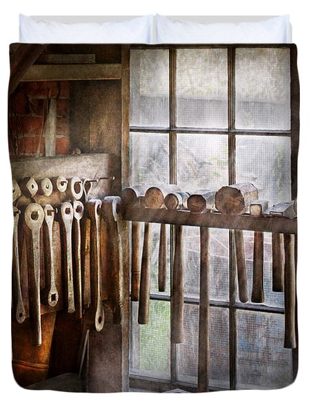 Black Smith - Draw Plates And Hammers  Duvet Cover by Mike Savad