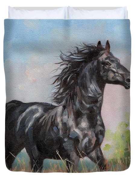 Black Stallion Duvet Cover by David Stribbling