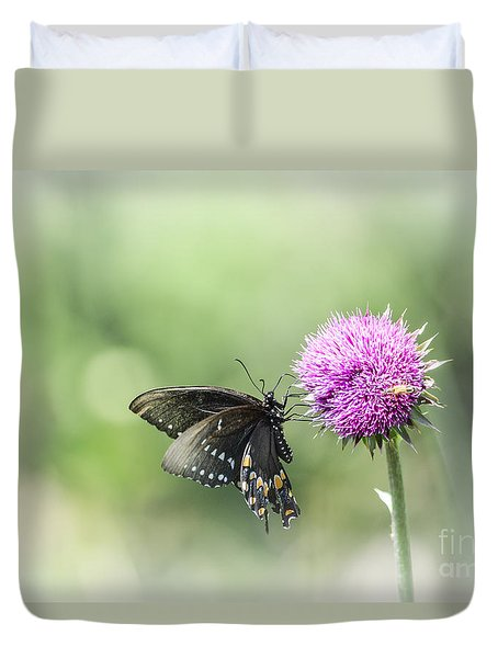 Black Swallowtail Dreaming Duvet Cover by Debbie Green