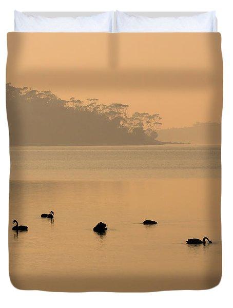 Black Swan Sunrise Duvet Cover
