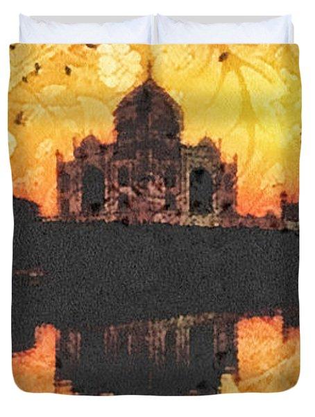 Black Taj Mahal Duvet Cover by Mo T