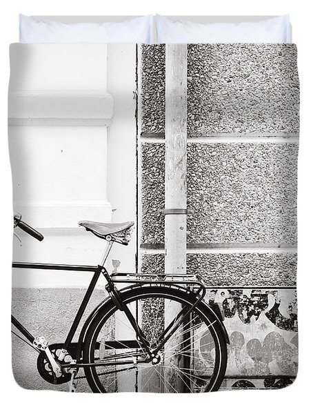 Black Vintage Bicycle Duvet Cover by Jimmy Karlsson