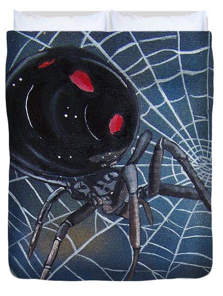 Black Widow Duvet Cover by Debbie LaFrance
