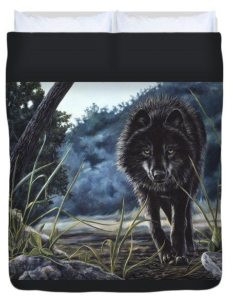 Black Wolf Hunting Duvet Cover