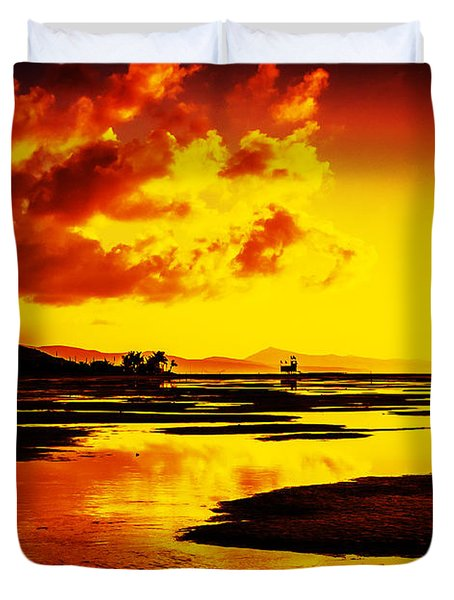 Black Yellow And Orange Sunrise Abstract Duvet Cover by Julis Simo