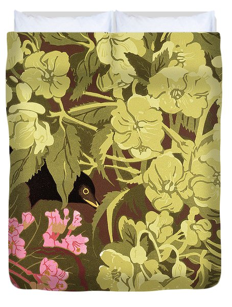 Blackbird In The Hellebores Duvet Cover by Carol Walklin