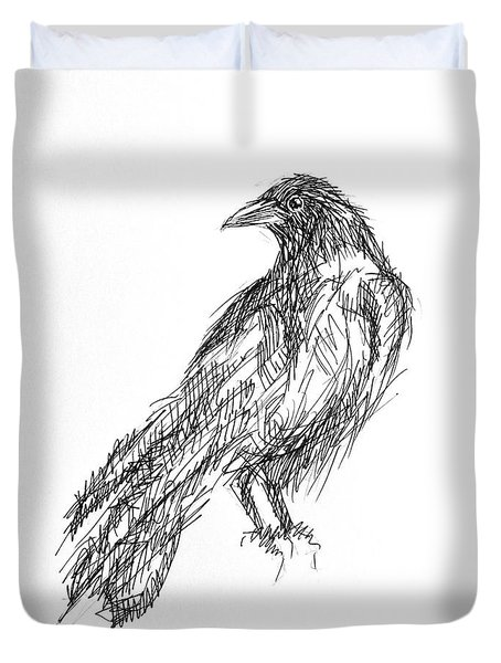 Duvet Cover featuring the drawing Blackbird  by Nicole Gaitan