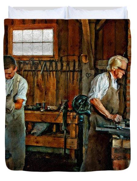 Blacksmith And Apprentice Impasto Duvet Cover by Steve Harrington