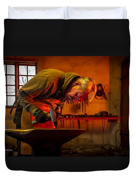 Blacksmith In Torresta Duvet Cover by Torbjorn Swenelius