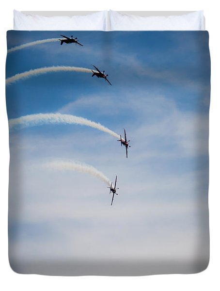 Duvet Cover featuring the photograph Blades Formation Loop by Scott Lyons