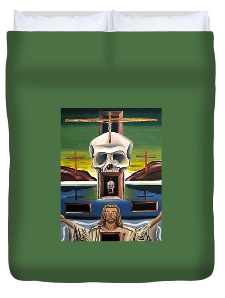 Duvet Cover featuring the painting Blasphemixition by Ryan Demaree
